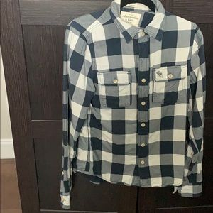 Abercrombie and Fitch Blue and white plaid flannel